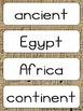 Ancient Egypt Vocabulary Word Wall