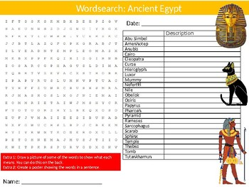 Ancient Egypt Wordsearch Puzzle Sheet Keywords History Egyptian Pyramids