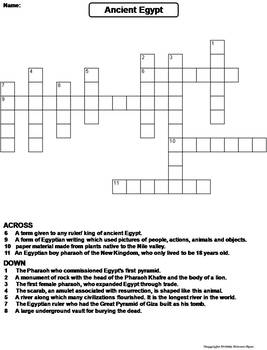 photograph about Ancient Egypt Printable Worksheets titled Historic Egypt Worksheet/ Crossword Puzzle