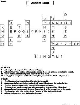 Ancient Egypt Worksheet/ Crossword Puzzle