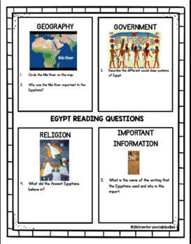 Ancient Egypt Worksheet: Geography, Religion, Government (CCLS)