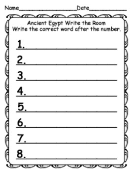 Ancient Egypt Write the Room