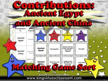 Ancient Egypt and Ancient China: Contributions Matching Game Sort #1
