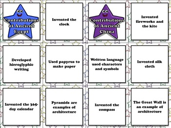 Ancient Egypt and Ancient China: Contributions Matching Game Sort #2