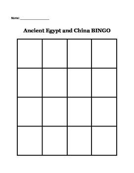 Ancient Egypt and China BINGO