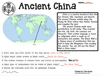 Ancient Egypt and China Booklets and Reading Passages