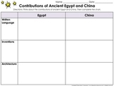 Ancient Egypt and China Contributions Graphic Organizer - King Virtue