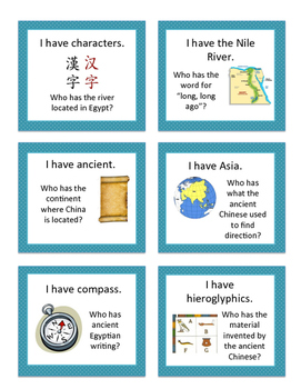 """Ancient Egypt and China """"I Have, Who Has"""" Game"""