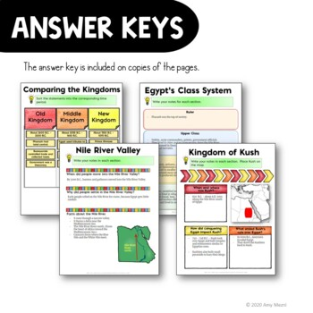 Ancient Egypt and Kush DIGITAL Interactive Notebook Unit World History