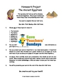 Ancient Egypt homework project & presentation Lesson plan and Letter for parents