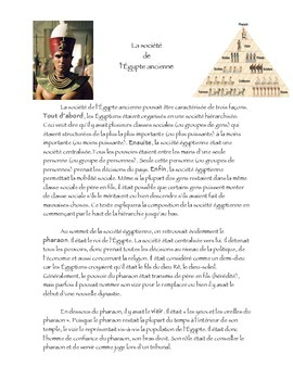 Ancient Egypt society in FRENCH