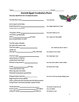 Ancient Egypt vocabulary poem