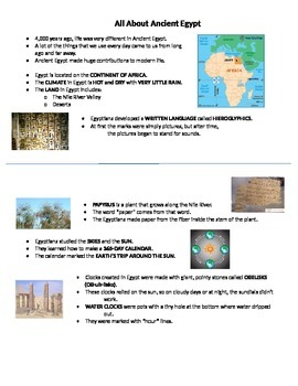 Ancient Egypt_Journal Notes_2nd Grade