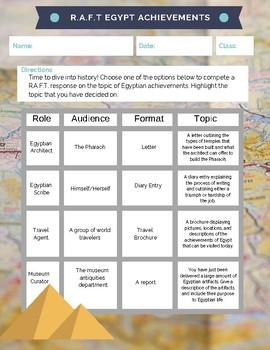 Ancient Egyptian Achievements RAFT Assignment (Hieroglyphs, temples, scribes)