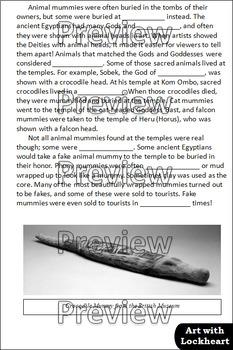 Ancient Egyptian Animal Mummies Cloze Reading