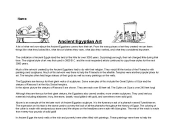 Ancient Egyptian Art Worksheet and Creative Activity