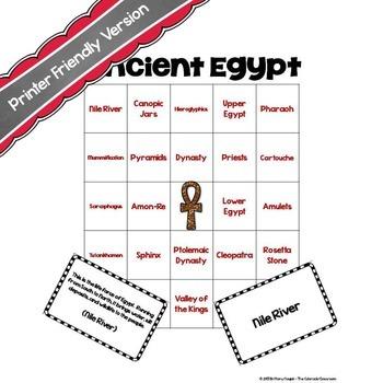 Ancient Egyptian Bingo