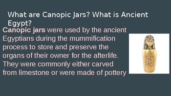 Ancient Egyptian Canopic Clay Jars - Middle School / Hand Building