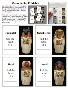 Ancient Egyptian Canopic Jar Foldable