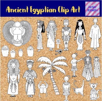 Ancient Egyptian Clip Art Black and white - line art version