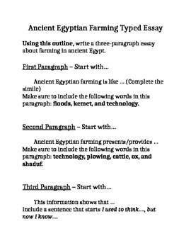 Ancient Egyptian Farming Essay Outline By Mrsmccullough  Tpt Ancient Egyptian Farming Essay Outline High School Vs College Essay also Letter Writing Services  Help On A Speech