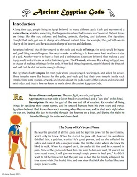 Ancient Egyptian Gods Handout and Fun Worksheets