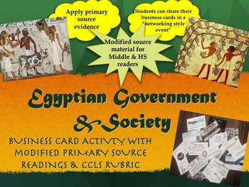 Ancient Egyptian Government & Society Business Card Activi
