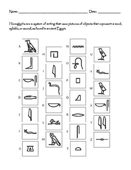 Ancient Egyptian Hieroglyphic Activities