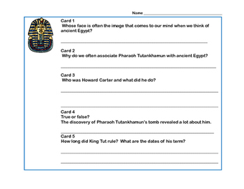 Ancient Egyptian History-King Tut-Scavenger Hunt- Read and Write The Room