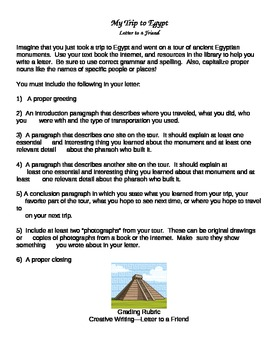 Ancient Egyptian Monuments Creative Writing Letter