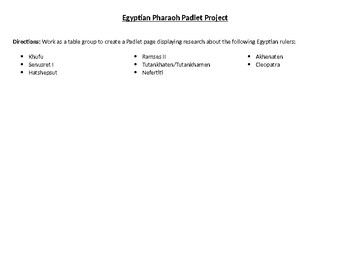 Ancient Egyptian Pharaohs Padlet Project