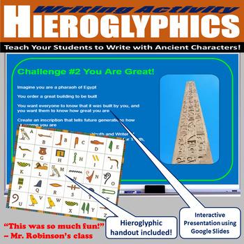 Ancient Egyptian Writing Activity (Hieroglyphics)