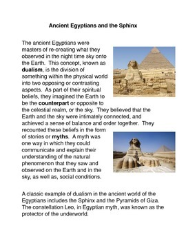 Ancient Egyptians and the Sphinx Common Core Science Activities
