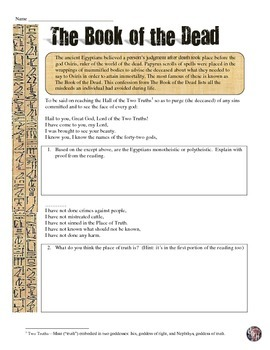 ancient egypt 39 s book of the dead primary source analysis worksheet. Black Bedroom Furniture Sets. Home Design Ideas