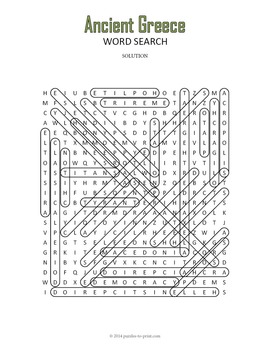 Ancient Greece Word Search Puzzle