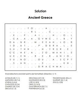 Ancient Greece Activity Word Search: Achilles, Athena, Lyre, Parthenon, etc.