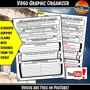 Ancient Greece Achievements YouTube Video Graphic Organizer Notes Doodle Style