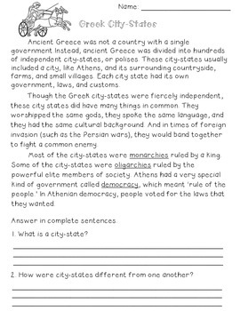 Ancient Greece {Activities, Worksheets, & Handouts} by Free to Teach