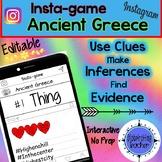 Ancient Greece Activity - Instagram (Editable Insta-game)
