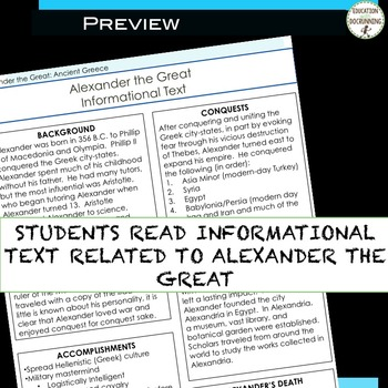Ancient Greece Guided Notes and Center Activity for Alexander the Great