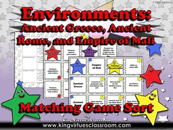 Ancient Greece, Ancient Rome, and Empire of Mali Matching Game - Environments