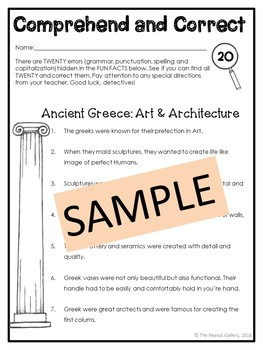 Ancient Greece: Art (Comprehend and Correct)