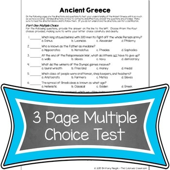 Ancient Greece Assessments & Study Guide