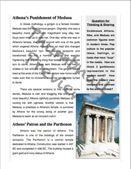 Ancient Greece & Athena - Passage, Mad Libs, and Vocabulary