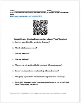 Ancient Greece: Athenian Democracy in 4 Minutes Video Worksheet