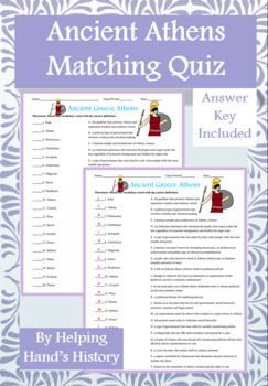 Ancient Greece Athens Activity Matching with Answer Key