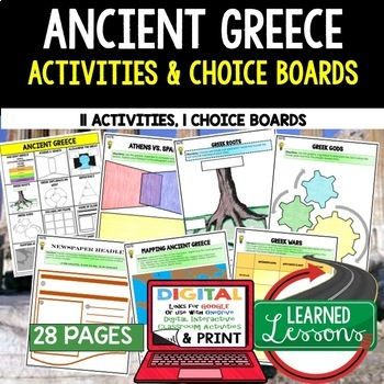 Ancient Greece Choice Board Activities (Paper and Google D