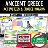Ancient Greece Activities, Choice Board, Print & Digital, Google