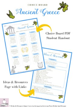 Ancient Greece Choice Board Menu Project