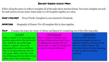 Ancient Greece Choice Menu